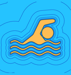swimming water sport sign sand color icon vector image