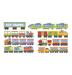 Trains toy set stylish futuristic retro vector