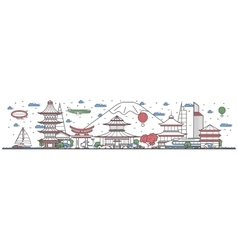 Travel in Japan country line flat design banner vector image