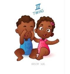 Twins horoscope sign Two cartoon african american vector