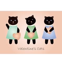 valentine cats vector image