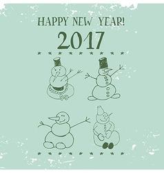 Vintage Card Snowman vector image