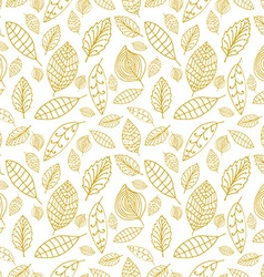 White and gold seamless pattern with leaves Styles vector
