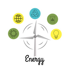 Windpower with environment buttons icons vector