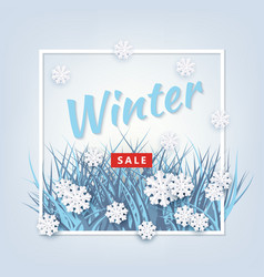Winter background with leaves and snowflake vector