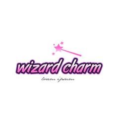 Wizard charm word text logo icon design concept vector
