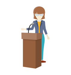 woman orator speaking from tribune vector image