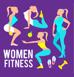 workout fitness girl set heath lifestyle care vector image