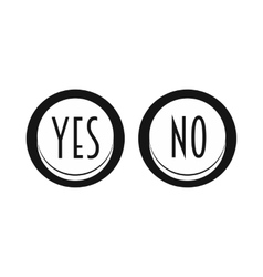 Yes and No button icon simple style vector image