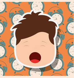 Young boy face yawning clocks background vector