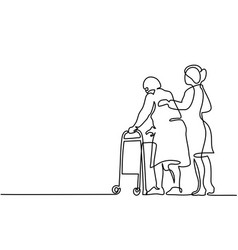 Young woman help old woman using a walking frame vector