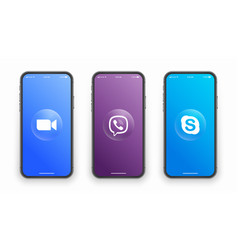 Zoom viber skype logo on iphone screen vector