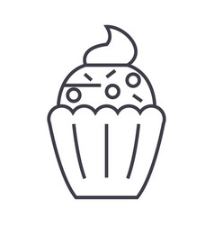 cupcake line icon sign on vector image