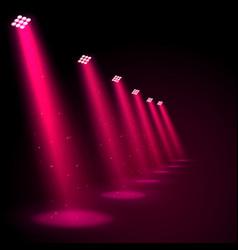glowing pink spotlights vector image vector image