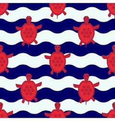 Seamless nautical pattern with little red turtles vector image vector image