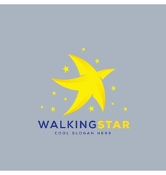 Walking Star Abstract Icon Symbol or Logo vector image vector image