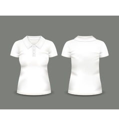 Womens white polo shirt short sleeve vector image