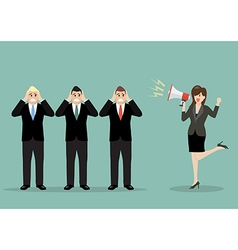Business woman screaming to the businessmen vector image vector image