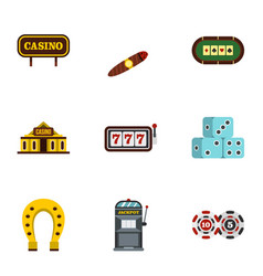 casino icons set flat style vector image