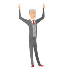 Caucasian businessman standing with raised arms up vector