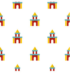 Colorful castle toy blocks pattern seamless vector