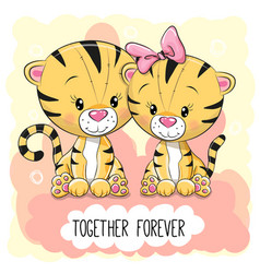 cute cartoon tigers boy and girl vector image vector image
