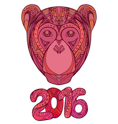 doodle card with monkey and date decorated tribal vector image