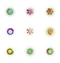 Sign download icons set pop-art style vector image