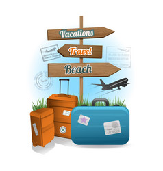 travel wood sign background concept vector image