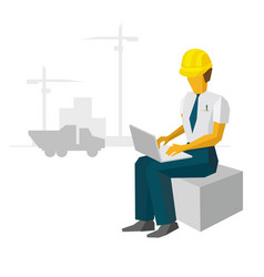 engineer work with laptop on construction site vector image