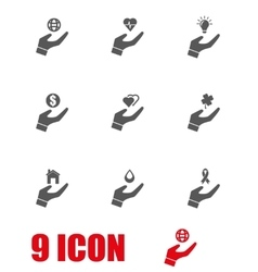 grey insurance hand icon set vector image