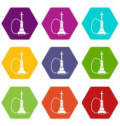 hookah icon set color hexahedron vector image vector image