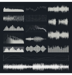 Music sound waves set isolated on a dark vector image