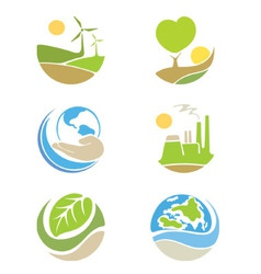 The logos on the theme ecology vector
