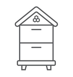 wooden beehive thin line icon farming vector image