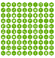 100 beauty and makeup icons hexagon green vector image