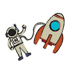 Astronaut rocket floating image vector