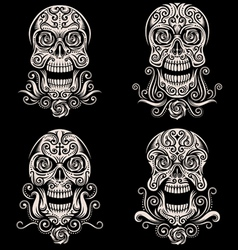 day of the dead skull tattoo set vector image vector image