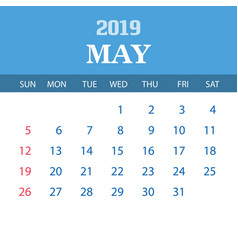 2019 calendar template - may vector image