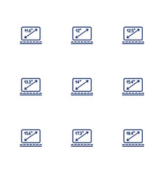 A picture depicting different diagonals of laptop vector