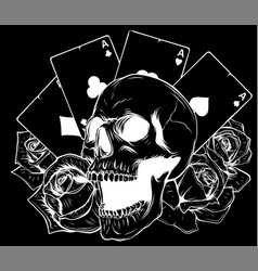 Aces and skull in black background vector