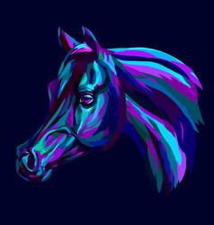 Arab horse abstract hand-drawn multicolored port vector