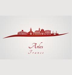 Arles skyline in red vector