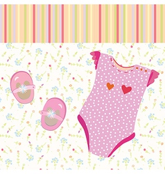 Baby girl background with shoes vector image