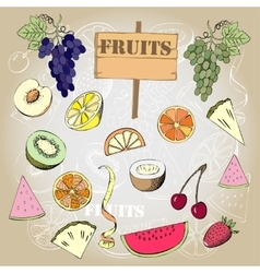 Background with fruit1-03 vector image