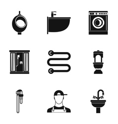 Bathroom icons set simple style vector