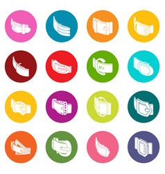 Belt buckle icons set colorful circles vector