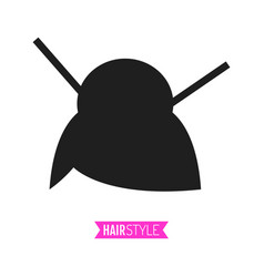 Black flat silhouette hairstyle on white vector