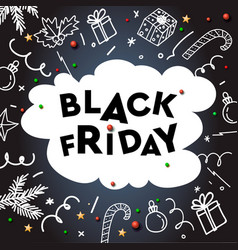 black friday sale template with doodle decorative vector image