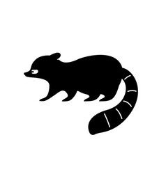 Black raccoon silhouette vector